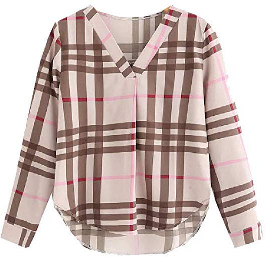 Abetteric Womens V-Neck Striped Plaid Fashion Blouse Long Sleeve Western Shirt, khaki