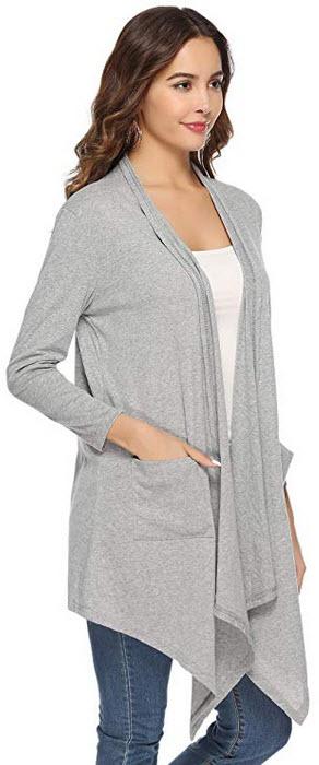 Abollria Long Sleeve Women Asymmetric Draped Open Front Cardigan Sweater gray