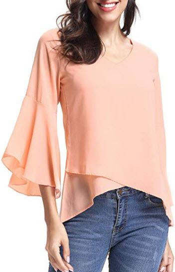 Abollria Women 3/4 Bell Sleeve Solid Chiffon Tunic Blouse Shirt, pink
