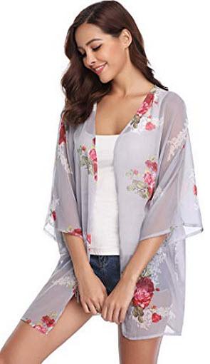 Abollria Womens Floral Print Sheer Chiffon Kimono Cardigan Blouse Loose Beach Cover up, grey 2