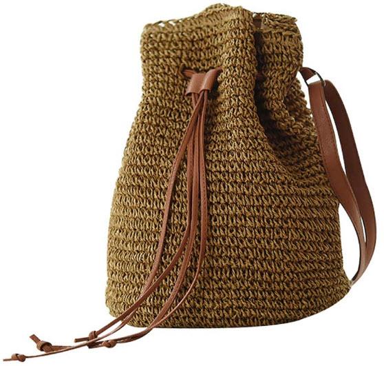Abuyall Women Straw Crossbody Shoulder Bag Drawstring Bucket Summer Beach Bag C
