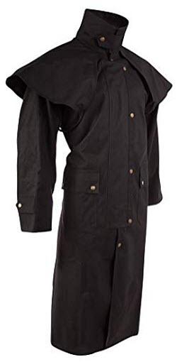 Acerugs Mens Long Black Trench Coat Australian Outback Oilskin Duster Waterproof Jacket