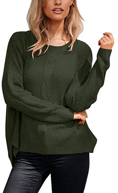 ACKKIA Women Casual Ribbed Cable Knit Sweater Textured Slit Jumper Pullover Tops army green