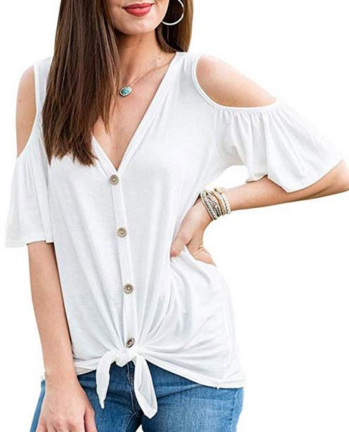 ACKKIA Womens Casual Ruffle Cold Shouler Tie Front Button Down Shirt Blouse Top beige