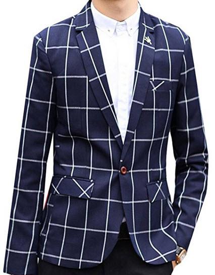 Acquaa Men's Casual Plaid One Button Blazer Suit Jacket.