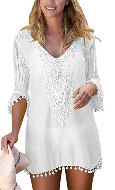 Actloe Womens Crochet Pom Pom Trim Beach Tunic Swimsuit Cover Up Dress white