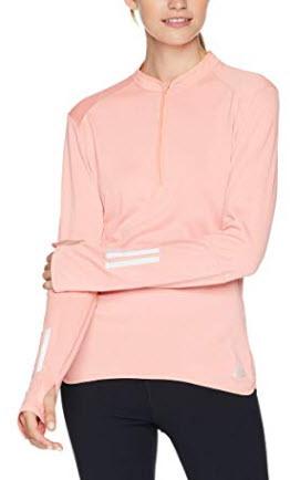 adidas Women's Running Response 1/2 Zip Long sleeve Tee, chalk coral heather