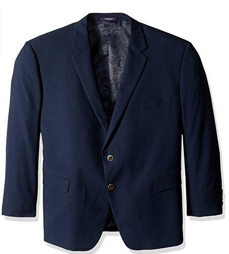 Adolfo Men's Classic Portly Blazer solid navy