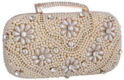 Adoptfade Womens Beaded Flower Evening Clutch Vintage Dinner Bag gold