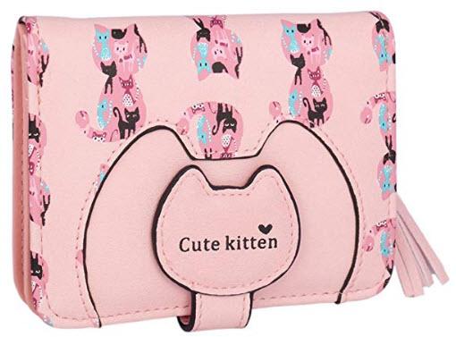 Adoptfade Womens Cute Cat Wallet Tassel Small Coin Purse pink