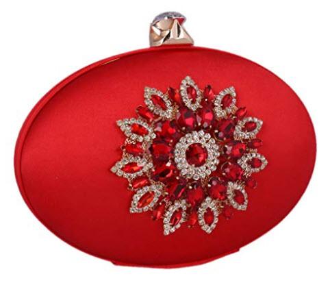 Adoptfade Womens Flower Rhinestone Evening Bag Oval Retro Clutch red