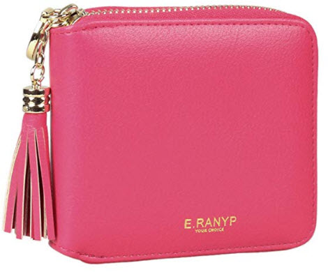 Adoptfade Womens Small Wallet Solid Color Tassel Coin Purse rose