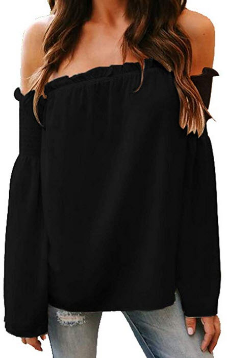 Adreamly Women's Sexy Off The Shoulder Bell Sleeve Shirt Casual Blouses Tops black
