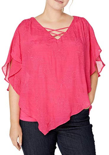 AGB Women's Plus-Size Criss-Cross Popver Top, hot pink