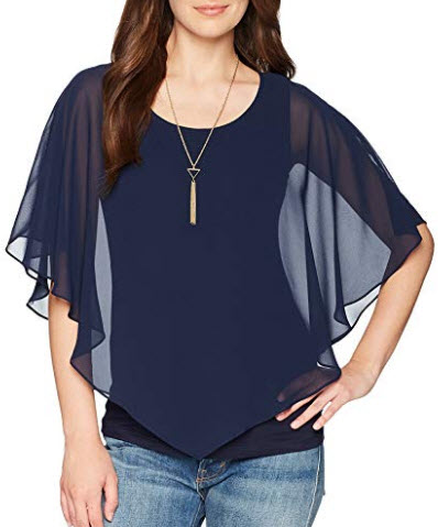AGB Women's V Front Popover Top with Necklace, navy