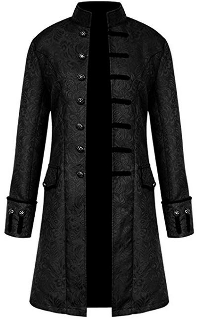 AIEOE Men Gothic Cosplay Steampunk Tailcoat Long Sleeve Victorian black