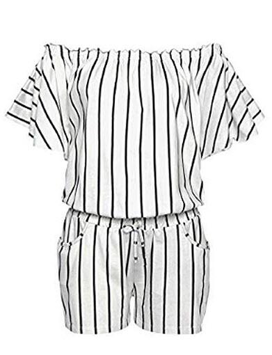Ailixi Women Summer Jumpsuit Off-Shoulder Short Sleeve Vertical Striped Pocket Short Rompers wit ...