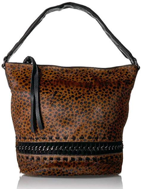 Aimee Kestenberg Genny Bucket Hobo brown cheetah hair calf