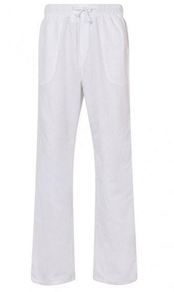 Aimwell Mens Linen Light Weight Drawstring Beach Yoga Pyjama Casual Summer Trousers – White