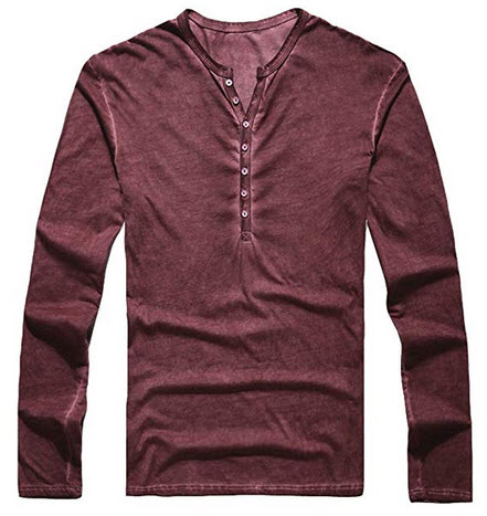 AITFINEISM Mens Summer Casual V-Neck Button Cuffs Cardigan Long Sleeve T-Shirts red