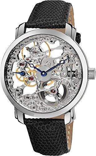 Akribos XXIV Men's AK406SS Bravura Davinci Mechanical Stainless Steel Watch with Black Lea ...