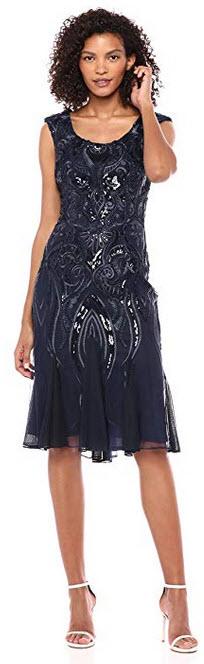 Alex Evenings Womens Sleeveless Lace Dress navy