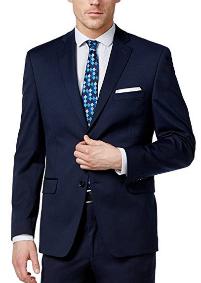 Alfani Slim Fit Navy Solid Two Button Flat Front New Men's Suit Set.