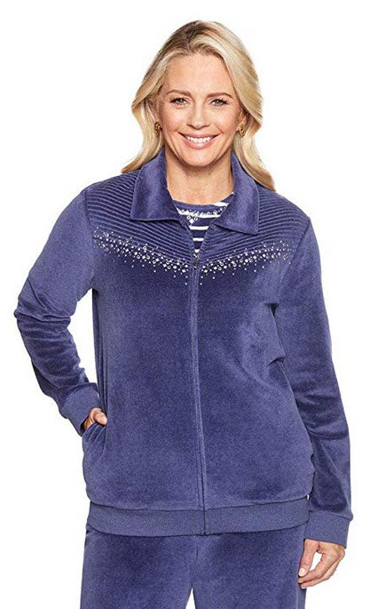 Alfred Dunner Women's Comfortable Situation F18 Velour Chevron Jacket
