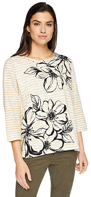 Alfred Dunner Women's Floral Stripe Print Top multi