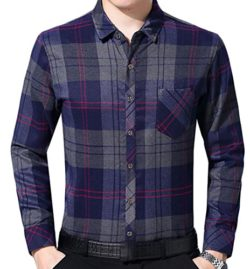 Alion Men Autumn Long Sleeve Flannel Classic Plaid Fleece Thicken Button Shirt