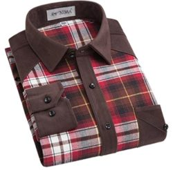Alion Men's Stylish Long Sleeve Cotton Flannel Plaid Button Down Shirts