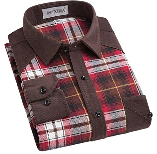 Alion Men's Stylish Long Sleeve Cotton Flannel Plaid Button Down Shirts