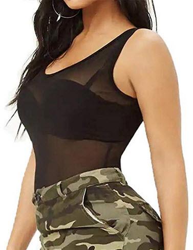 Allchic Womens Short Sleeve Sheer Mesh Tops Sexy See Through Tee Blouse Clubwears black