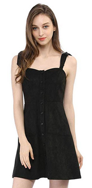 Allegra K Women Strap Button Down Faux Suede A-Line Mini Overall Dress black