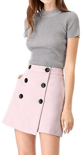 Allegra K Womens Button Down High Waist Wrap A-line Mini Short Skirt pink