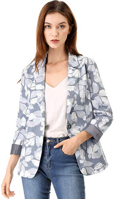 Allegra K Women's Classic One Button Boyfriend Printed Blazer Jacket grey