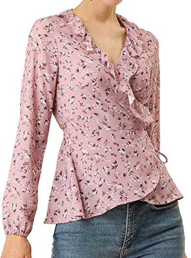 Allegra K Women's Floral Print Crossover Ruffle V Neck Self Tie Wrap Peplum Top