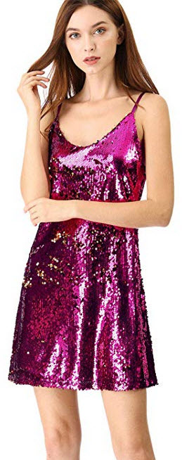 Allegra K Women's Glitter Sequin Sparkle Adjustable Strap Mini Party Dress pink