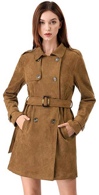 Allegra K Womens Notched Lapel Double Breasted Faux Suede Trench Coat Jacket with Belt brown
