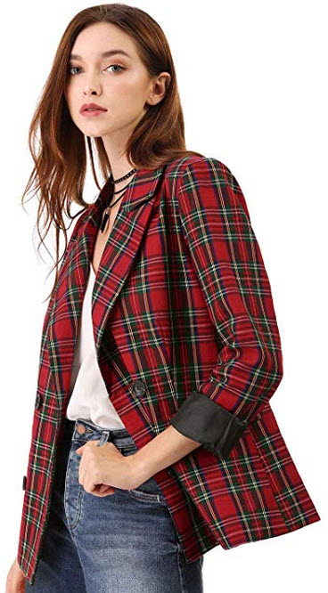 Allegra K Women's Notched Lapel Double Breasted Plaid Formal Blazer Jacket red green