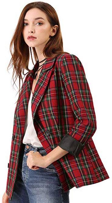 Allegra K Womens Notched Lapel Double Breasted Plaid Formal Blazer Jacket red green