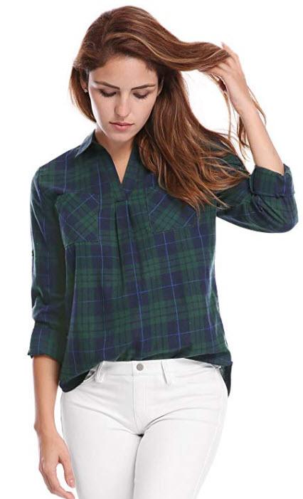 Allegra K Women's Point Collar Roll up Sleeves High Low Hem Plaid Shirt green