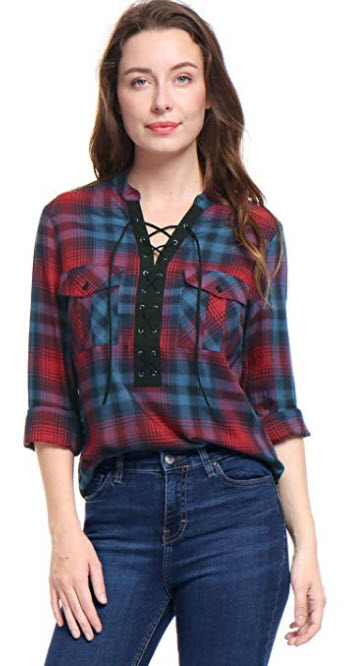 Allegra K Women's Roll up Sleeves Lace up Front Plaid Shirt red
