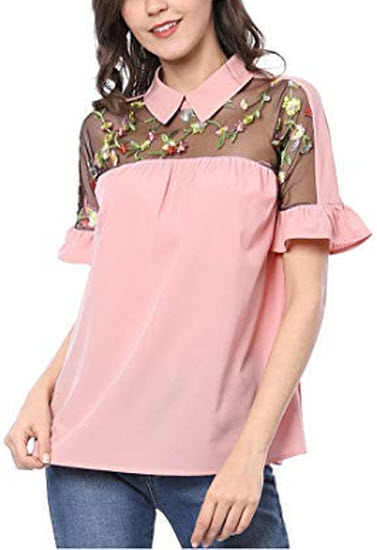 Allegra K Women's Ruffle Cuff Collared Floral Embroidered Tops, pink