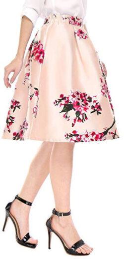 Allegra K Women's Vintage Floral Prints High Waist Pleated A Line Midi Skirt, pink