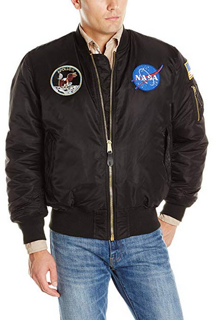 Alpha Industries Men's NASA Apollo MA-1 Bomber Jacket black