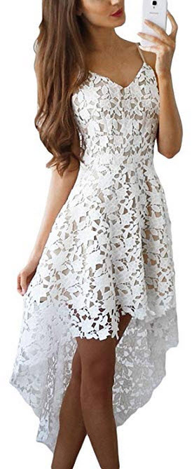 AlvaQ Women's V Neck Sleeveless Lace Hollow High Low Party Dress white