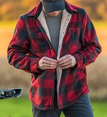 American Outdoorsman Plaid Sherpa Fleece Shirt Jackets for Men, red black