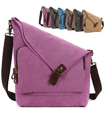 AmHoo Canvas Crossbody Bag for Women Genuine Leather Messenger Purse Handbags Shoulder Bag Hobo  ...