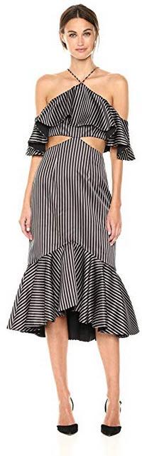 AMUR Womens Agnes Striped Dress black
